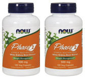 2-Pack Of Phase 2 Starch Neutralizer 500 mg 120 Vcaps, Now Foods, Weight Loss