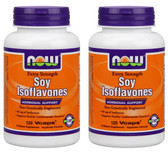2-Pack Of Soy Isoflavones Extra Strength 120 Vcaps, Now Foods