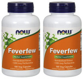 2-Pack Of Feverfew 100 Caps, Now Foods, Migraines