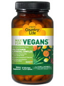 Max for Vegans Multivitamin & Mineral Complex 120 Vegan Caps, Country Life