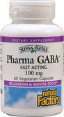 Stress Relax Pharma GABA 100 mg 60 Veggie Caps, Natural Factors