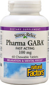Stress-Relax Pharma GABA 100 mg 60 Chewable Tabs, Natural Factors