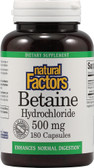 Betaine HCL with Fenugreek 500 mg 180 Veggie Caps, Natural Factors