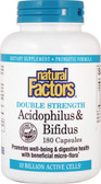 Acidophilus & Bifidus 10 Billion Active Cells 180 Caps (Ice), Natural Factors