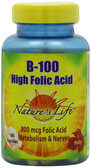 B-100 High Folic Acid 100 Caps, Nature's Life