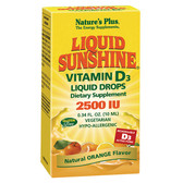 Liquid Sunshine Vitamin D3 Liquid Drops Natural Orange Flavor 2500 IU 0.34 oz (10 ml), Nature's Plus