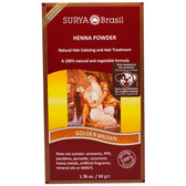 Brasil Powder Natural Hair Coloring and Treatment Powder Golden Brown 1.76 oz (50 g), Surya Henna