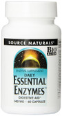 Essential Enzymes 500 mg 60 Caps Source Naturals, Digestive Aid