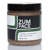 Zum Face Rosemary-Mint & Walnut Sugar Facial Scrub 4 oz, Indigo Wild