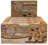 QuestBar Protein Bar Oatmeal Chocolate Chip 12 Bars, Quest Nutrition