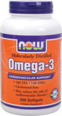 Omega-3 1000 mg 200 Softgels, Now Foods Supplements