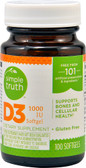 Vitamin D3 1000 IU 100 sGels, Simple Truth