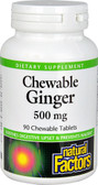 Chewable Ginger 500 mg 90 Chews, Natural Factors