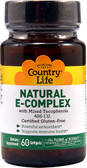 Natural E-Complex 400 IU 60 sGels, Country Life
