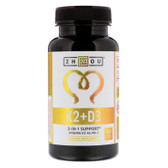 K2 + D3, 2-In-1 Support, 60 Veggie Caps Zhou Nutrition