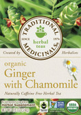 Organic Ginger w Chamomile Tea 16 Bags Traditional Medicinals, Digestion