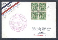 pif063b. PHILIPPINES FFC 63b (old #61) FT. STOTSENBURG TO BOAC 10-30-31 with #340 block of 4. Signed by Pilot. Scarce only 23 carried!
