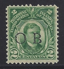 """piob241b3. Philippines 241 variety with Black Constabulary """"OB"""" Overprint. Unused, LH, Fresh & F-VF with nibbed perf. Nice """"Bandholtz OB"""" Overprint."""