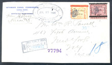 cz013o5. Canal Zone 13 & 17a on Registered cover front from STA. A, ANCON, 7-10-1906, to U.S. Scarce & Attractive Postal History item!!