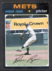 Baseball 1971 Topps 513 Nolan Ryan New York Mets Hall-of-Fame pitcher. Classic card of Ryan!