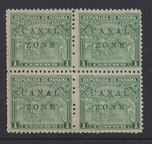 """cz009a4. Canal Zone 9a """"CANAL"""" in Antique type * OG F-VF in blk/4. Scarce Error - only 500 issued!"""