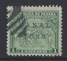 """cz009b5. Canal Zone 9b """"ZONE"""" in Antique type Used Very Fine. Nice used example of this Scarce Error!"""