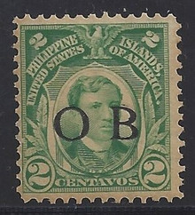 """piob241b6. Philippines 241a yellow green variety with Black Constabulary """"OB"""" Overprint. Unused, NH, Fresh & F-VF. Scarce """"Bandholtz OB"""" Overprint on 2c shade, only 100 issued."""