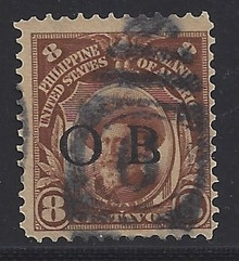 """piob244b3. Philippines 244 variety with Black Constabulary """"OB"""" Overprint. Used, F-VF. Scarce used """"Bandholtz OB"""" Overprint, only 4000 issued!"""