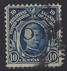 """piob245a7. Philippines 245 variety with Black Constabulary """"OB"""" Overprint. Used, F-VF. Scarce black Bandholtz """"OB"""" Overprint, only 2000 issued!"""