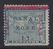 """cz012g3. Canal Zone 12 variety """"ANAMA"""" @ left, """"PANAM"""" @ right. Unused OG F-VF NSE. Very Scarce Dual Variety, only a few from some panes!"""
