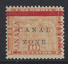 """cz013b3. Canal Zone 13b """"ZONE"""" in Antique type unused OG LH F-VF. Scarce Error - only 400 issued!"""
