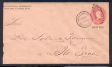 pru07e. Puerto Rico U7 entire used Arecibo Sta., 2-6-1900, to San Juan.