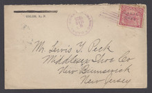 cz010o5. Canal Zone 10 tied on cover by 7-bar CANAL ZONE killer with matching CRISTOBAL, 3-8-1905, cds to U.S. Attractive cover.