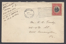 cz047h3. Canal Zone 47 on cover Ancon 12-?-20 to US. Very Scarce 2c Mt Hope ovpt on cover.