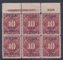 cbj4e3. Cuba 189910c on 10c Postage Due stamp J4 Top Plate Block of six. Unused 3 LH / 3 NH F-VF+. Very Scarce Block!