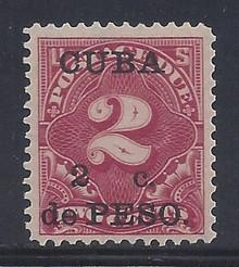 cbj2c5. Cuba 1899 2c on 2c Postage Due stamp J2 Unused LH Fresh & Very Fine+. Attractive!