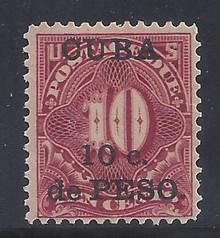 cbj4c5. Cuba 1899 10c on 10c Postage Due stamp J4 Unused LH F-VF. Fresh & Attractive!