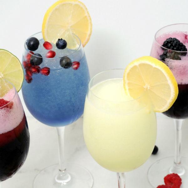 Hard Lemonade,  Blackberry-Sangria, Blueberry-Pomegranate, Sangria Wine Slushies