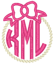Bow and Pearls Applique Monogram