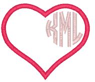 Circle Monogram Heart Applique