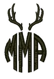 Circle Monogram with Antlers