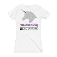 Women's V-Neck T-shirt ~ #UnicornInTraining