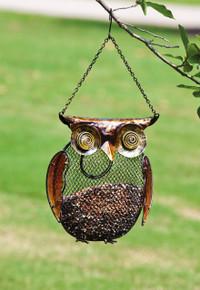 Owl, Metal and Glass Bird Feeder