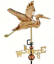 Heron Polished Copper Garden Weathervane