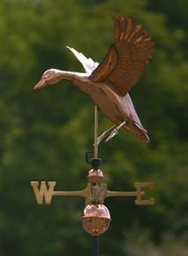 Landing Duck Weathervane Polished Copper + FRT