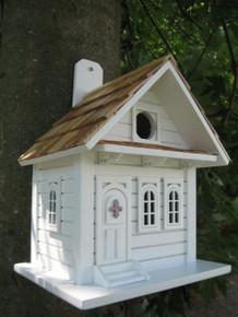 Shotgun Cottage Birdhouse White w/Lavender