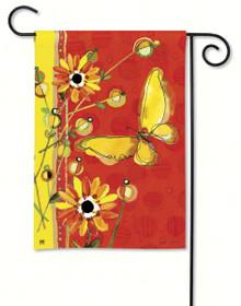 Yellow Butterfly Garden Flag