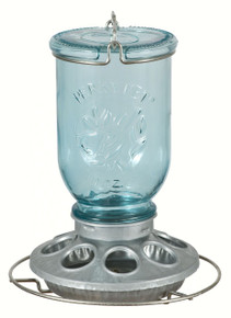 Antique Wide Blue Glass Seed Feeder