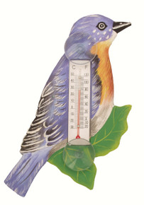 Bluebird on Branch Small Window Thermometer
