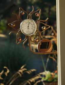Solar Wall Mount Flower Thermometer